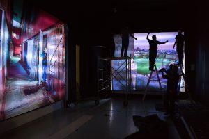 Aufbau  <br> <br>Deutscher Pavillon<br> Mexico City November 2016<br><br> construcción de la exposición<br> Pabellón Alemán