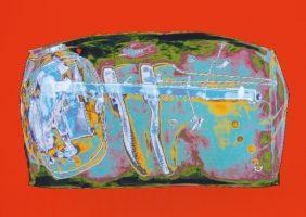 Reisetasche Türkis Rot <br> 1999<br><br> C-Print, 60 x 85 cm